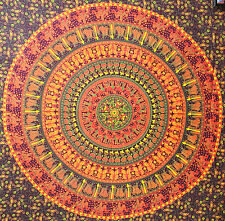 Big indian cotton psychedelic Elephant mandala tapestry wall hanging home decor