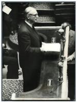 Paris, Pierre Pflimlin à l'assemblée nationale  Vintage silver print Tira