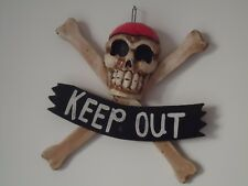 Skull & Cross Bones Keep Out Sign Wooden 3D Wall Door Plaque / Nice Pirates Gift