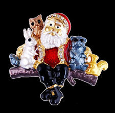 Handmade Brooch Pins Crystal Christmas Gifts Rhinestone Santa Claus Snowman