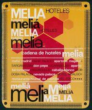 MELIA Hotel old luggage label Spain MADRID CORDOBA BAHIA