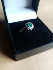 18ct Yellow Gold Emerald And Diamond Ring, UK Size L 1/2. Great looking Item!