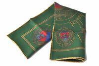 """Authentic HERMES Scarf Handkerchief """"LES ARMES DE PARIS"""" Silk Green B2237"""