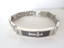 Cross Br 00004000 acelet 8 Inch Long Men's Shinny Stainless Steel Carbon Fiber