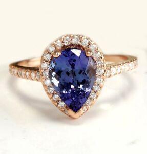 2.44 Carat Natural Tanzanite & Diamonds 14K Solid Rose Gold Women Ring