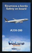 VOLARE europe Italian Airline A 330 SAFETY CARD air brochure n alitalia sc795 aa