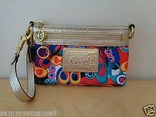 NEW Coach 42898 Poppy Pop C Signature Large Capacity Wristlet Clutch Bag $98