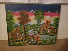 F. Marthone A Coupe Reid Haitian Life Tropical Village Scene Unframed & Signed