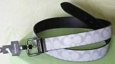 "COACH MEN'S HARNESS BUCKLE CUT-TO-SIZE REVERSIBLE BELT:NWT REFLECTIVE SILVER ""C"""