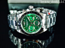 Invicta Men's 40mm SPEEDWAY DRAGSTER Chronograph GREEN DIAL Silver Tone Watch