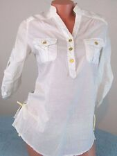 YU'RE White solid Casual Summer 3/4 sleeve blouse top shrit Sz S