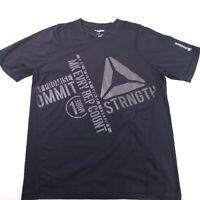 Reebok Mens T-Shirt Size Large Black Play Dry Crossfit Tee T Shirt Short Sleeve