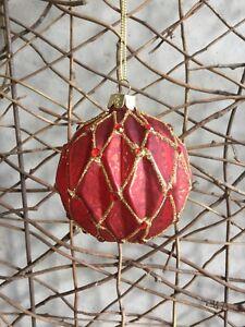 Gisela Graham mottled red glass gold detail harlequin Christmas bauble set of 3