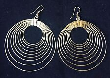 BohoCoho Quirky Boho Gypsy 70s style gold tone large big multi hoop earrings