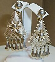 "LOVELY Vintage 1970's Chandelier Silver Tone 2-1/4"" Filigree Dangle Earrings"