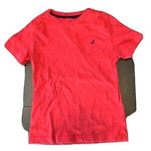 Boys Size 5 Medium Nautica Red V-neck Short Sleeve Shirt Top Back 2 School