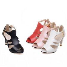 Women's Cone Heel Shoes Cutout Faux Leather Peep Toes Sandals AU Size 2~15 S898