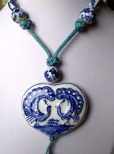 Bijou Vintage ancien collier rétro coeur porcelaine paon perle blanc bleu 470