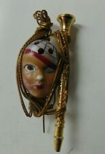 Vintage LADY HEAD woman FACE Brooch Pin HAND PAINTED UNIQUE RARE