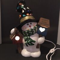 Vintage Lighted Ceramic Christmas Snowman Wearing Hat with Bird Houses Handmade