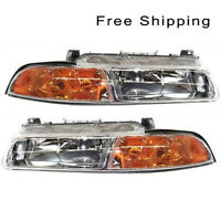 Halogen Head Lamp Assembly Set of 2 Pair LH /& RH Side Fits Stratus Cirrus Breeze