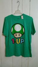 MARIO 1-UP MUSHROOM TEE LARGE GREEN SHORT SLEEVE GRAPHIC NEW WITH TAGS