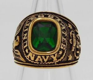 MEN RING EMERALD SYN STAINLESS STEEL YELLOW GOLD CZ US MILITARY EAGLE SIZE 9.75