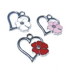 5 pieces 20x20mm fleur coeur en alliage de zinc émail charme pendentifs-mixte-A0823