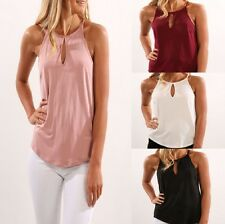 UK Womens Halter Neck blouse sleeveless Hollow tops Ladies Loose T-shirt vest