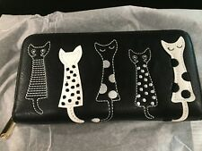 NEW CATS PRINT ACCORDIAN LADIES CARD PHONE HOLDER CLUTCH WALLET WRISTLET