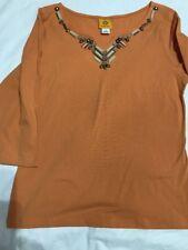 Ruby Rd Women's Top Blouse Desert Sand  Orange Size M NWT Mojave 2014