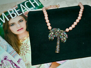 NWT $200 HEIDI DAUS Palm Beach Palm Tree Crystal Pendant Pearl NECKLACE
