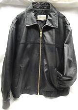 ST. JOHN'S BAY Men's Black Leather Jacket (XL) w/Custom Replacement Zipper (O6)