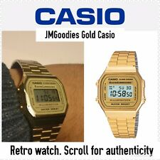 Casio Retro Unisex Digital Steel Bracelet Watch-A168WA-1YES Gold - Refurbished