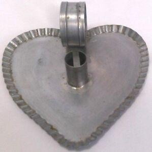 "heart shaped metal candle holder handmade primitive drip catcher finger loop 7"""