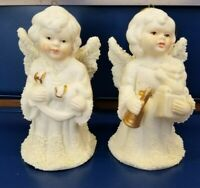 """VINTAGE SET OF 2 CERAMIC BISQUE ANGEL BELL ORNAMENTS 3.75"""" TALL WHITE AND GOLD"""