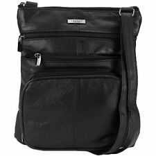 LORENZ ACCESSORIES Soft Black Sheep Nappa Leather Multi Pocket Cross Body Bag.