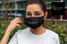 "FMA Face Mask ""Blessed"" White Font"