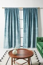 """Anthropologie Green Velvet Lined Window Curtain Drape 50"""" x 84"""" $268 NWT"""