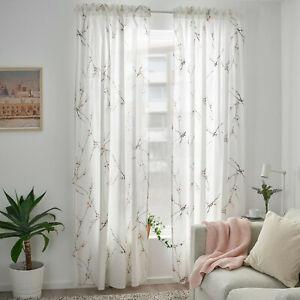 IKEA RÖDLÖNN Gardinen (145x300cm) 2 Gardinenschal weiß/Blumen japanische Neu