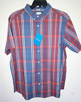 Mens Columbia Rapid Rivers Short Sleeve Button Up Plaid Shirt New Size Large L