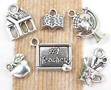 6 TEACHER Theme Charms Antique Silver Tone Charm Collection Set Lot School