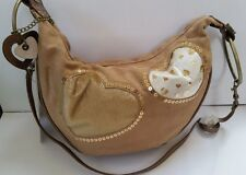 Vintage Carrie Bag by Relic with Tags Brown with Hearts Suede Fur & Leather