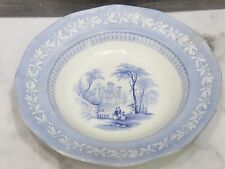 "Antique Staffordshire Blue Transferware Rimmed Soup Plate 10.25"" Woman Child"