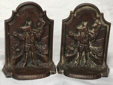 2 Beautiful Antique Cast Bronze Etched Emblematic Winchester College Bookends