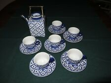 13 pieces HANDPAINTED Thai Blue and White Teapot Cups Saucers - Pineapple Design