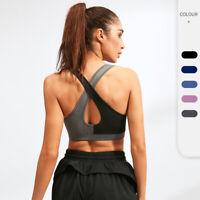 Damen Sport BH Push Up Ohne Bügel Vorderverschluss Fitness Joggen Yoga Bra Tops