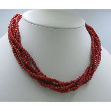 QVC 925 Sterling Silver 5 Strand Natural Mediterranean Red Coral Necklace