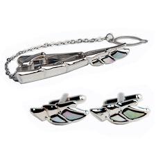 Boutons de Manchette Pince Cravatte Nacre Creation Artisanale Luxe AILES D ANGE