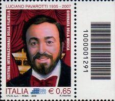 2009 francobollo Luciano Pavarotti CON CODICE A BARRE 1291